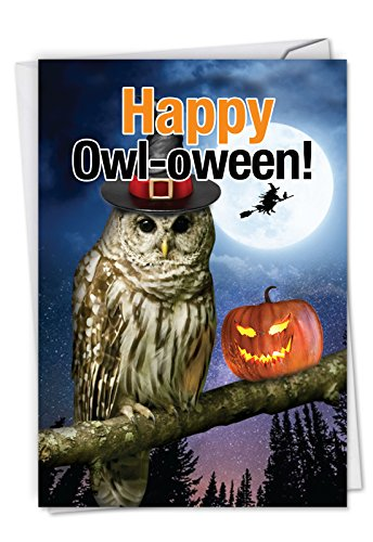 C6212HWG Happy Owl-oween: Hysterical Halloween Greeting Card Featuring An Owl Showing Us The True Spirit Of Halloween, with -