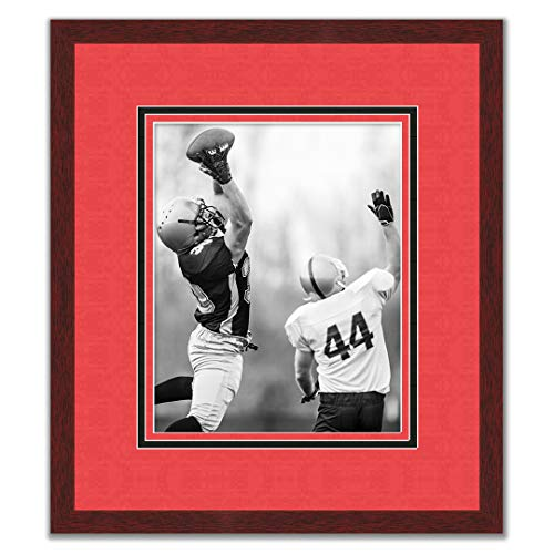 Sports Frames Texas Tech University Black Wood Frame with Red Riders Triple Mat Colors - Made to Display 16