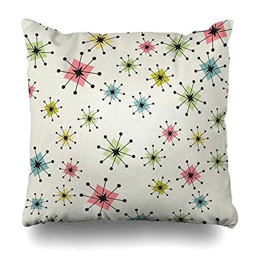 Ahawoso Throw Pillow Cover Square 16x16 Inches Pattern Vintage Atomic Stars Retrostylized Retro Kitsch Boomerangs Zippered Cushion Pillow Case Home Decor Pillowcase