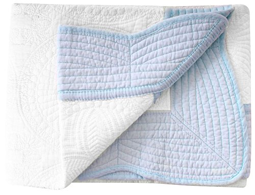 Four Seasons All Weather Cotton Quilt Blanket for Babies & Toddlers, White-Blue (Baby Boy Quilt)