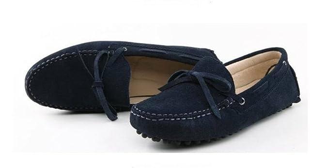 Minitoo Hombres de conducción nuevo nudo Suede Loafers Penny zapatos de barco, color Marrón, talla 44