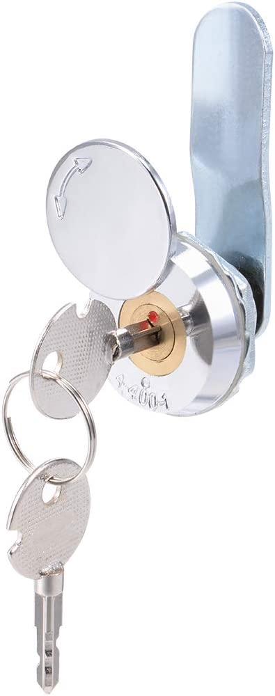 "uxcell Drawer Cabinet Cam Lock, 1/2"" Cylinder Length, Fits on 1/4"" Max Panel Thickness, Brass Core Keyed Alike"