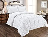 Alternative Comforter - Sweet Home Collection 3 Piece Reversible Polyester Microfiber Goose Down Alternative Comforter Set with pillow Shams, King, Chevron Gray
