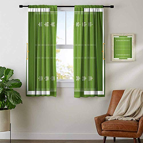(Mozenou Football, Curtains Blackout 2 Panels, Sports Field in Green Gridiron Yard Competitive Games College Teamwork Superbowl, Curtains for Bathroom, W54 x L63 Inch Green)
