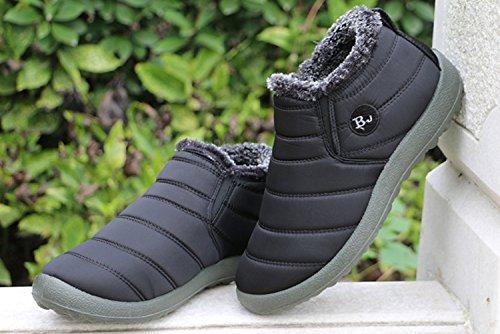 e96ce3cf93b65 Hiver Bottes Plein Air Noir Neige Imperméable Sport Minetom Pour Doublure  Chaussures Fourrure Bottine Chaud Epais En Femme Hommes Cheville Boots ...