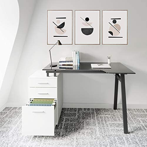 Techni Mobili RTA-3377D-WHT Home Office Computer Writing Desk Workstation