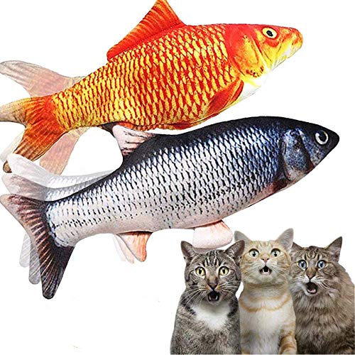 2 Pack Flopping Fish Cat Toy,Electric Moving Fish Toys for Indoor Cats,Realistic Plush Simulation Dancing Wagging Fish…