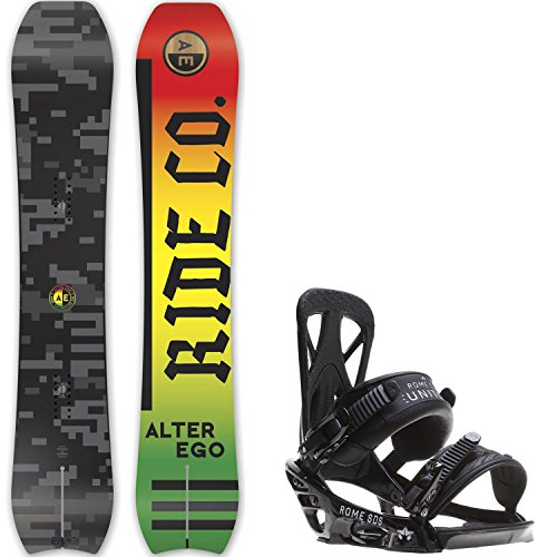 Ride Alter Ego 159 Mens Snowboard + Rome United Bindings - Fits US Mens Boots Sizes: 7,8,9,10 (Mens Rome Snowboard Package compare prices)