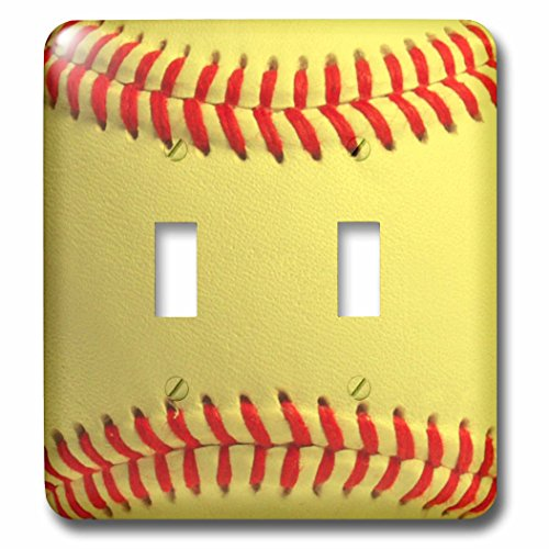 Toggle Light Switch Cover - 3dRose LLC lsp_120271_2 Softball Close-Up Photography Print Yellow And Red Soft Ball for Sporty Sport Fans Team Players Double Toggle Switch