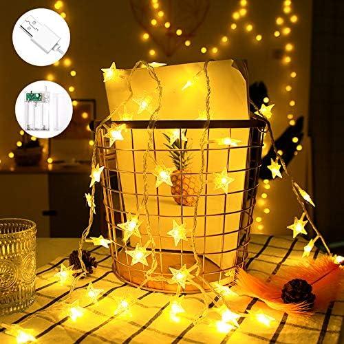 VTARCZA Stringa di Luci LED a Forma di Stella Luci Della Decorazione di Festa Luce Costante e Modalità Lampeggiante Adatto Per Albero di Natale Nozze Della Stanza Festa Giardino, 5M, Bianco Caldo