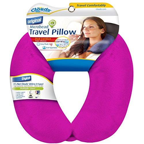 Cloudz Dual Comfort Microbead Travel Neck Pillow - Bright Pink