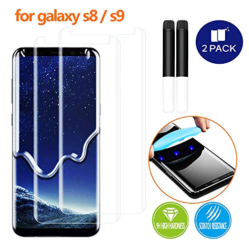 - Johncase [2 Pack] New Upgrade Screen Protector Compatible for Samsung Galaxy S8 /S9, Full Edge 3D Curved Tempered Glass Film W/UV Liquid Adhesive Light Installation Kit [Case Friendly]