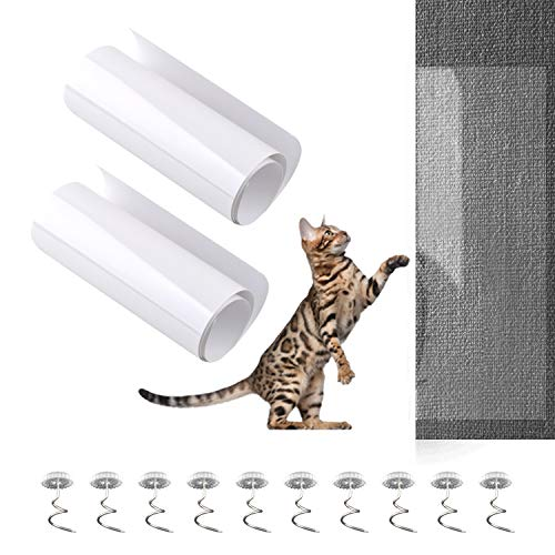 2Pcs Furniture Scratch Protectors from Cats Dogs Clawing 18×6In with 10Pcs Spiral Pins, Invisible Anti Scratch Couch Cat Scratch Deterrent Guards Self Adhesive for Leather Fabric Sofa Table Chair