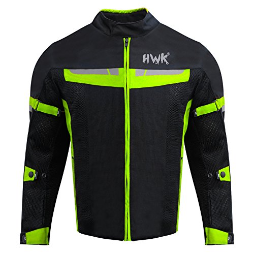 HWK Mesh Motorcycle Jacket Riding Air Motorbike Jacket Biker CE Armored Breathable (Large, ()