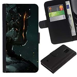 KLONGSHOP / Tirón de la caja Cartera de cuero con ranuras para tarjetas - Robot Fire Ai Technology Futurism Art Man - Samsung Galaxy S5 Mini, SM-G800, NOT S5 REGULAR!