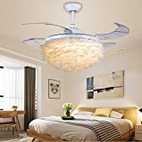 TiptonLight Cozy Romantic Princess Fan Light Home Children's Led Feather Fan Chandelier-42 inch