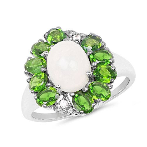 3.10 Carat Genuine Ethopian Opal, Chrome Diopside & White Topaz .925 Sterling Silver Floral Ring