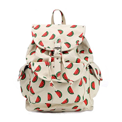 Vintage Cool Canvas Laptop Book Backpack Rucksack (Watermelon Red) - 5