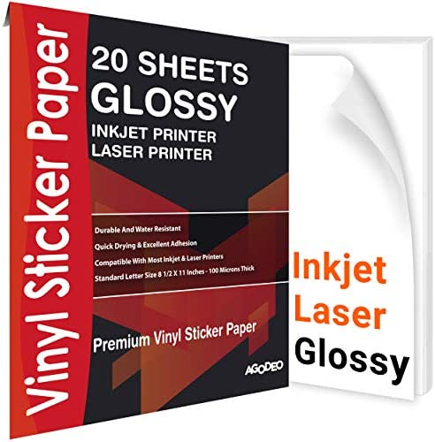 "Printable Vinyl Sticker Paper for Inkjet & Laser Printer - 20 Premium Sheets White Decal Glossy- Waterproof, Tear Resistant, Dries Quickly and Holds Ink Perfectly - Standard Letter Size 8.5""X11"""