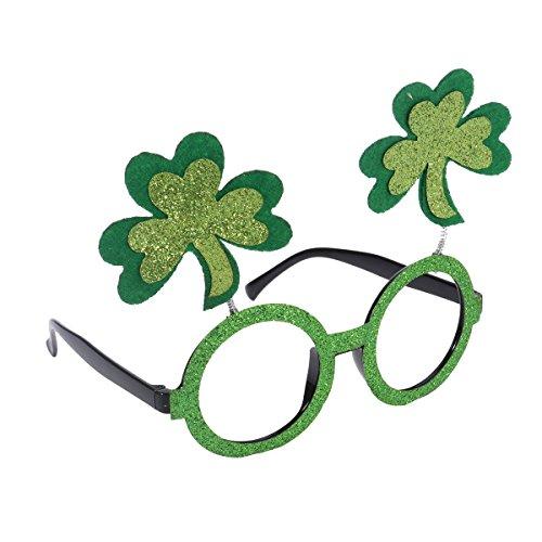 BESTOYARD St Patrick's Day Glitter Shamrock Glasses Costume Accessory Party Favour