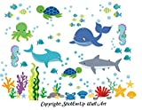 Baby Nursery Kids Children's Wall Decals: Sea Ocean Marine Life Mermaids Animals Wildlife Themed 50'' tall X 65'' wide (Inches): Repositionable Removable Reusable Wall Art: Better than vinyl wall decals: Superior Material