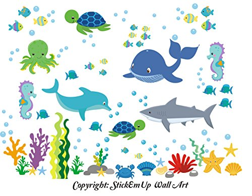 Baby Nursery Kids Children's Wall Decals: Sea Ocean Marine Life Mermaids Animals Wildlife Themed 50'' tall X 65'' wide (Inches): Repositionable Removable Reusable Wall Art: Better than vinyl wall decals: Superior Material by Nursery Wall Decals