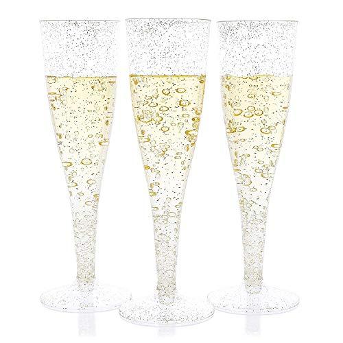 Plastic Champagne Flutes Set (4.4 oz, 50 Pack)