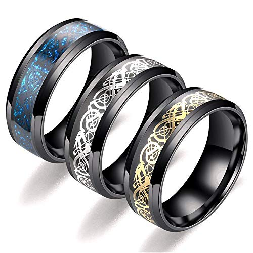 - Vanskye 3 Pcs 8mm Celtic Dragon Rings for Men Women Stainless Steel Wedding Ring Set Size 6-13