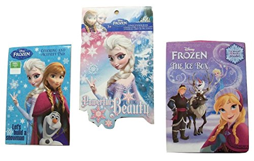 Disney Frozen Educational Learning Set ~ The Ice Box Educational Board Book Set,Let's Build a Snowman Coloring and Activity Pad, Powerful Beauty Shaped Sticker (Marshmallow Snowman Craft)