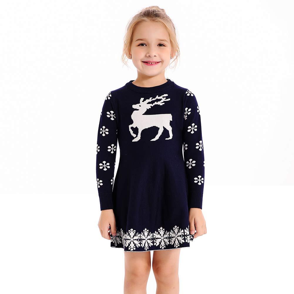 SMILING PINKER Little Girls Christmas Dress Reindeer Snowflake Xmas Gifts Winter Knit Sweater Dresses (3-4T, Navy Blue)