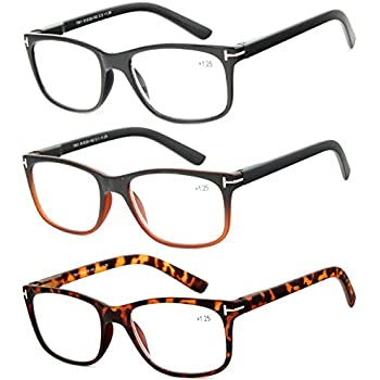 3917f6e713 Reading Glasses 3 Pack Great Value Quality Readers for Men and Women  Fashion Spring Hinge Glasses for Reading +3
