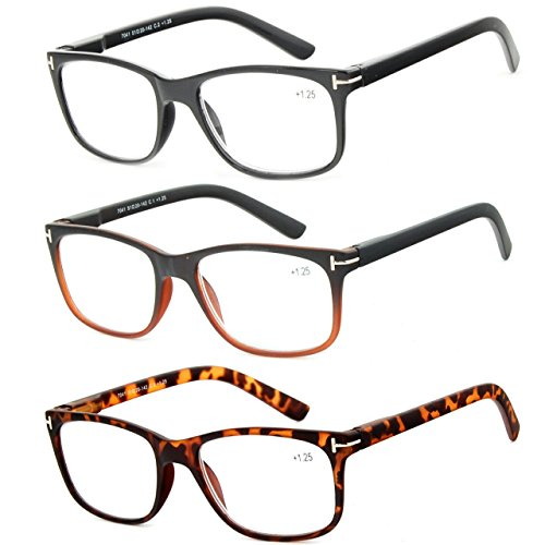 Reading Glasses 3 Pack Great Value Quality Readers for Men and Women Fashion Spring Hinge Glasses for Reading - Male Stylish Glasses