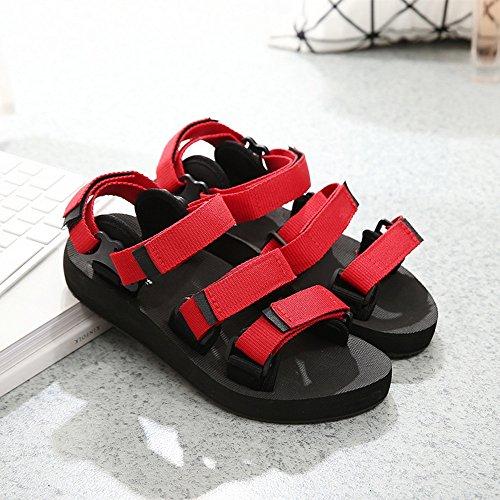 FEI Mädchen Sandalen Schwarz / Rot Sommer Paar Schuhe Strand Schuhe für Jungen und Mädchen Rutschfest ( Farbe : Schwarz , größe : 40 ) Rot