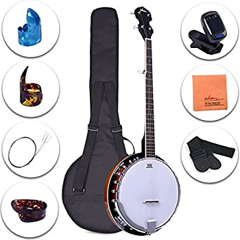 ADM 5-String Banjo 24 Bracket with Closed Solid Wood Back and Geared 5th Tuner, Beginner Pack with Bag, Strap, Picks and Strings