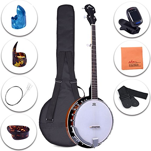 ADM 5-String Banjo 24 Bracket with Closed Solid Wood Back and Geared 5th Tuner, Beginner Pack with Bag, Strap, Picks and Strings (Banjo Learn Tenor Play)