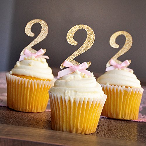 Pink and Gold Birthday Decorations. Glitter Gold Number 2 Cupcake Toppers. Set of 12.