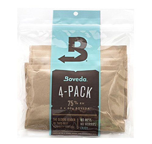 Boveda 75% RH 2-Way Humidity Control for Leaky Wooden Cigar Humidors, 4 Count 60 Gram Packets (Humidifier/Dehumidifier)–by Boveda Inc.
