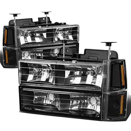 GMC C/K-Series 8pc Headlight+Corner+Bumper Light Assembly (Black Housing Amber Reflector) Amber Reflectors Black Housing