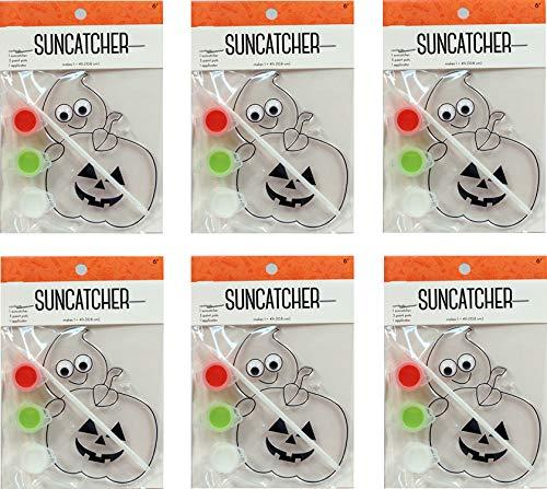 (Creative Hobbies Suncatcher Craft Kits for Kids - 6 Complete Kits - Halloween Pumpkin - Great Group Project, Party Favor, DIY)