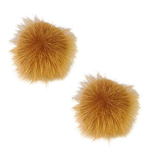 ZAKIA Women' Fluffy Mink Fur Pom Removable Shoe Clips Clutch Wedding Decoration Pack of 2 (New Mink Fur Headband)