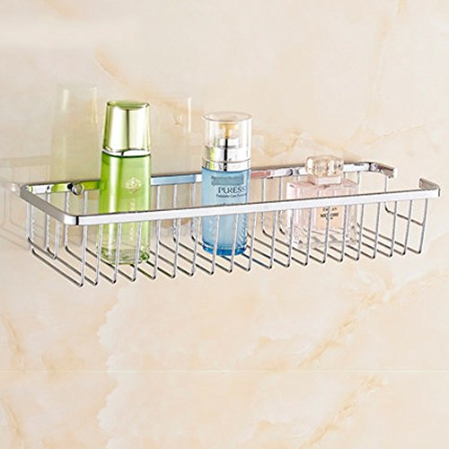 ZXQZ 304 stainless steel bathroom rack Bathroom shelves Single Layer Double Layer Quadrilateral Basket (Optional size) (optional layer) Long-handled brush bath (Color : A, Size : 50cm)