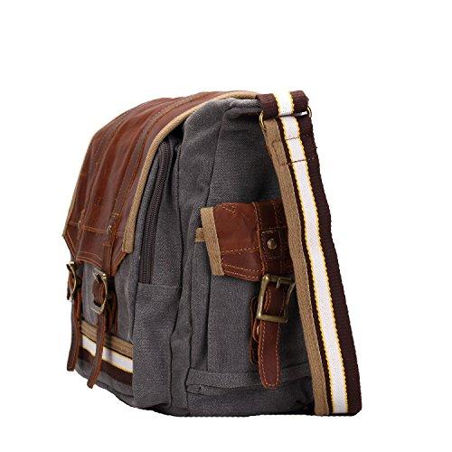 E-Bestar Hombres Casual Vintage bolsa de mensajero Mochilas de lona para hombre / mujer Casual bandolera Bolsas (Gris) Gris