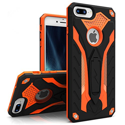 Zizo Static Series Compatible with iPhone 8 Plus case Heavy Duty Shockproof Military Grade Drop Tested with Kickstand iPhone 7 Plus case Orange