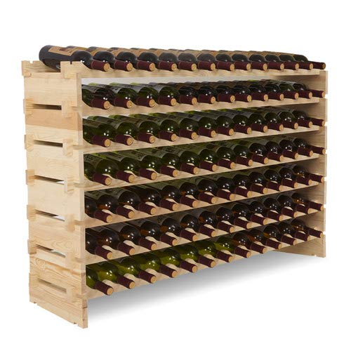 (Mecor 91 Bottle Capacity Stackable Storage Wine Rack, Standing Bottles Storage Shelf, Wobble-free,7-Tier)