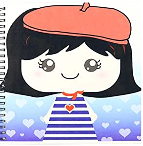 """3dRose db_76614_1 Cute Kawaii Cartoon French Girl Doll in Traditional France Paris Blue Stripe Dress Red Beret Hat Drawing Book, 8 by 8"""""""