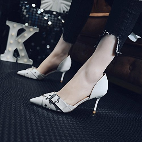 Pointed Toe Color Bare Gray Sandals Feminine 37 Toe Fashion Heels Sexy Size Stiletto Feet Shoes Heelpointed High XXOPpH8