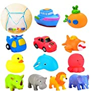 Joyin Toy 12 Pack 3.5'' Squirt Squeaker Bath Toys with Toy Organizer for Fun Bath.