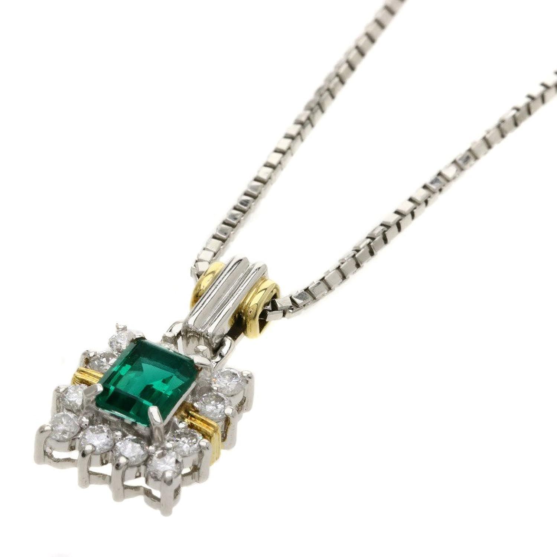[セレクトジュエリー]エメラルド/ダイヤモンド/クレサンベール ネックレス プラチナPT850/PT900/K18WG レディース (中古) B07DGP91WV