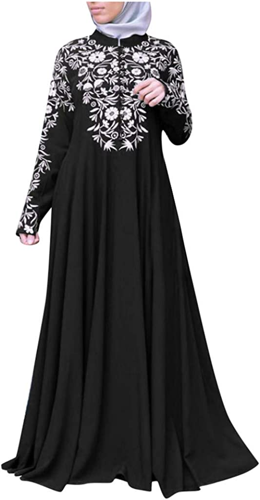 SSUPLYMY Women Muslim Dress Kaftan Arab Jilbab Abaya Dress Islamic Lace Dress Stitching Maxi Dress Long Sleeve Floral Baggy Ball Gown Solid Pocket Party Long Dresses