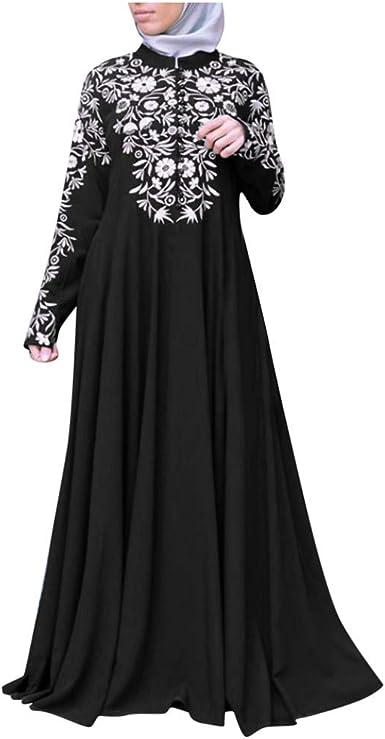 Women Maxi Long Sleeve Polka dot Print Spring Casual Long Dress Islamic Muslim Kaftan Abaya Long Gown Dresses